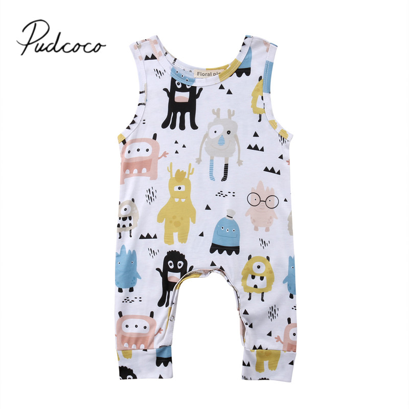 2018 Brand New Newborn Toddler Infant Baby Boy Girl Cartoon   Romper   Jumpsuit Playsuit Outfits Colorful Clothes Sleeveless Sunsuit