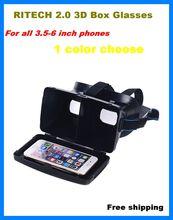 Cool RITECH II Coogle Cardboard VR Box 3.5-6.0 inch Mobile Phone Virtual Reality 3D Glasses for samsung iphone huawei xiaomi htc