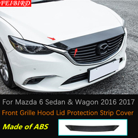 ABS Carbon Fiber Style Front Grille Hood Lid Protection Strip Cover Trim For Mazda 6 Sedan & Wagon 2016 2017