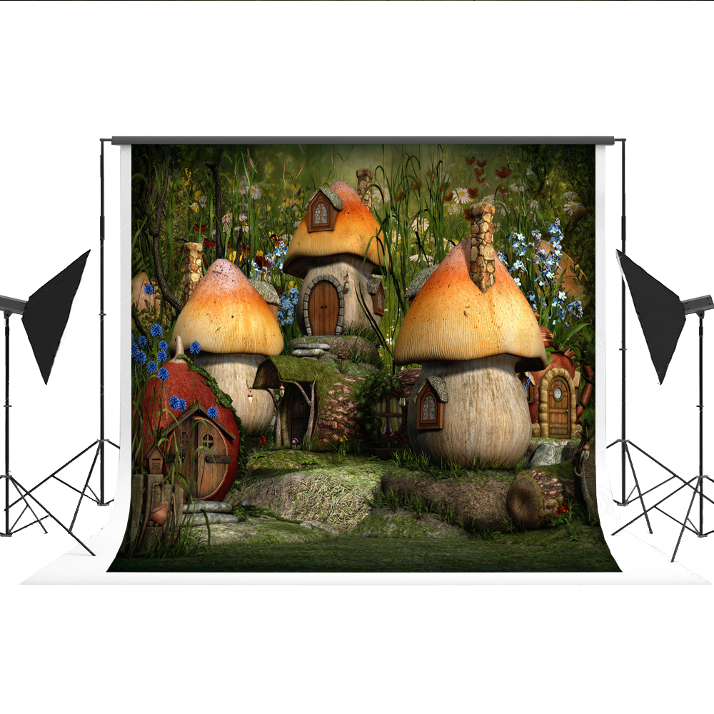 Cartoon Photo Backdrop Fairy Tale Mushroom Forest Photography Printed Background for Kids Fond Studio Magic Photos Kate christmas background pictures vinyl tree wreath gift window child photocall fairy tale wonderland camera photo studio backdrop