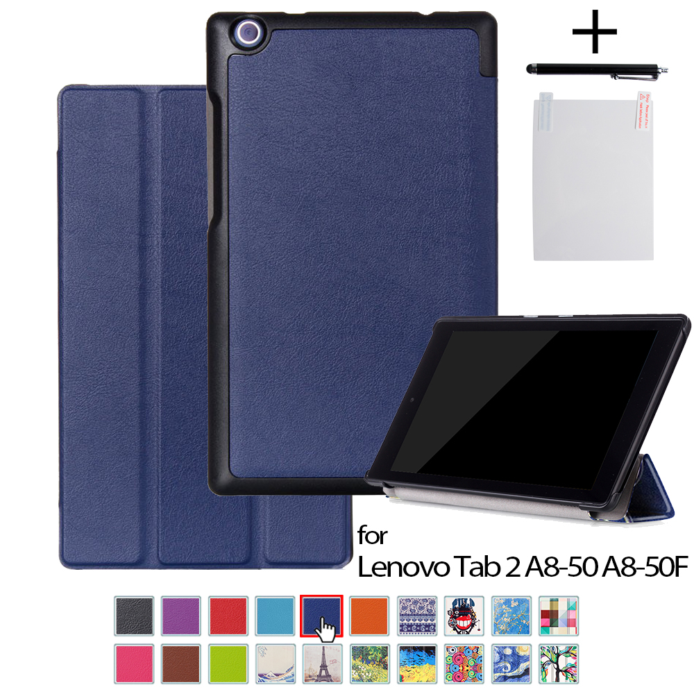 KST case for lenovo Tab 2 A8 8.0 leather protective cover funda For Lenovo Tab 2 A8-50 A8-50F A8 50 8 tablet CASE +film+stylus ultra slim case for lenovo tab 2 a8 50 case flip pu leather stand tablet smart cover for lenovo tab 2 a8 50f 8 0inch stylus pen