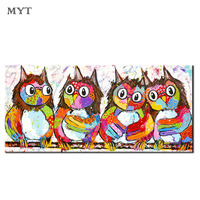 Handmade Abstract Four colorful cute owls Oil Painting On Canvas Wall Art Pictures For Living Room Home Decor no framed