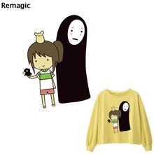 Spirited Away no face man DIY Heat Transfer Patches for Clothing Applique Baby Clothes Decoration Cute Animal Iron on