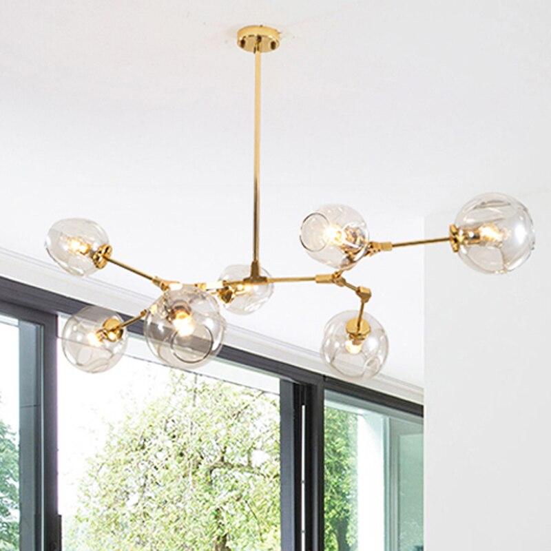 Image 2 - E27 Modern Glass Pendant Light Nordic Dining Room Kitchen Light Designer Hanging Lamps Avize Lustre Lighting-in Chandeliers from Lights & Lighting