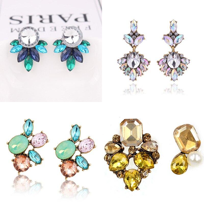 LUBOV 2019 Crystal Flower Drop Earrings for Girls Bohemian Party Cute Gift Dangle Earrings Women Wedding Trendy Jewelry