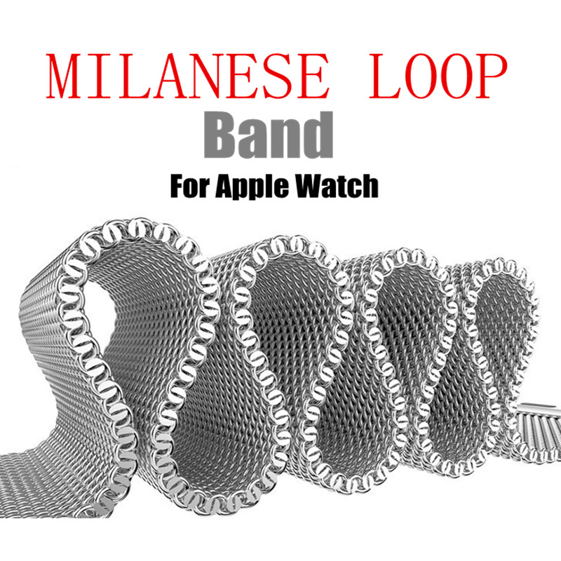 Milanese Loop Band For Apple Watch Band Magnetic Adjustable Buckle with adapter iwatch Stainless Steel Mesh Bracelet Strap milanese loop watch band stainless steel mesh wraps for apple watch magnetic closure clasp bracelet strap 38mm 42mm iwatch band