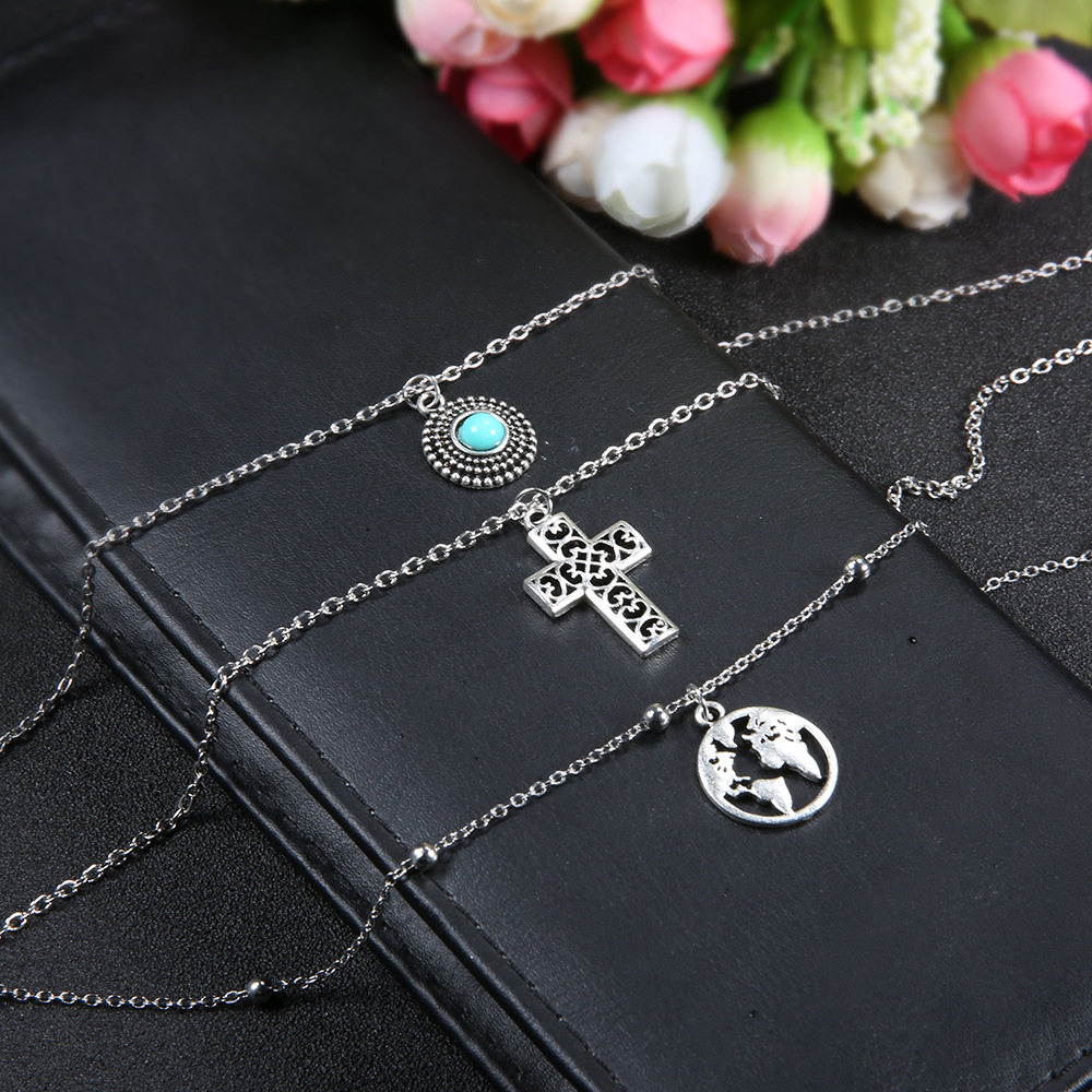 Hot Bohemian jewelry 2019 new fashion pop jewelry moon three layer multi layer necklace female wholesale in Pendants from Jewelry Accessories