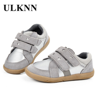 ULKNN Kids Shoes Girls Sneakers Spring Autumn Sport Shoes Children Heart Pattern Genuine Leather Breathable Gray