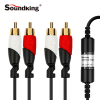 Soundking Audio Cable Professional 2 Rca To 3 5mm Audio Cable Noise Eliminator Male To Male