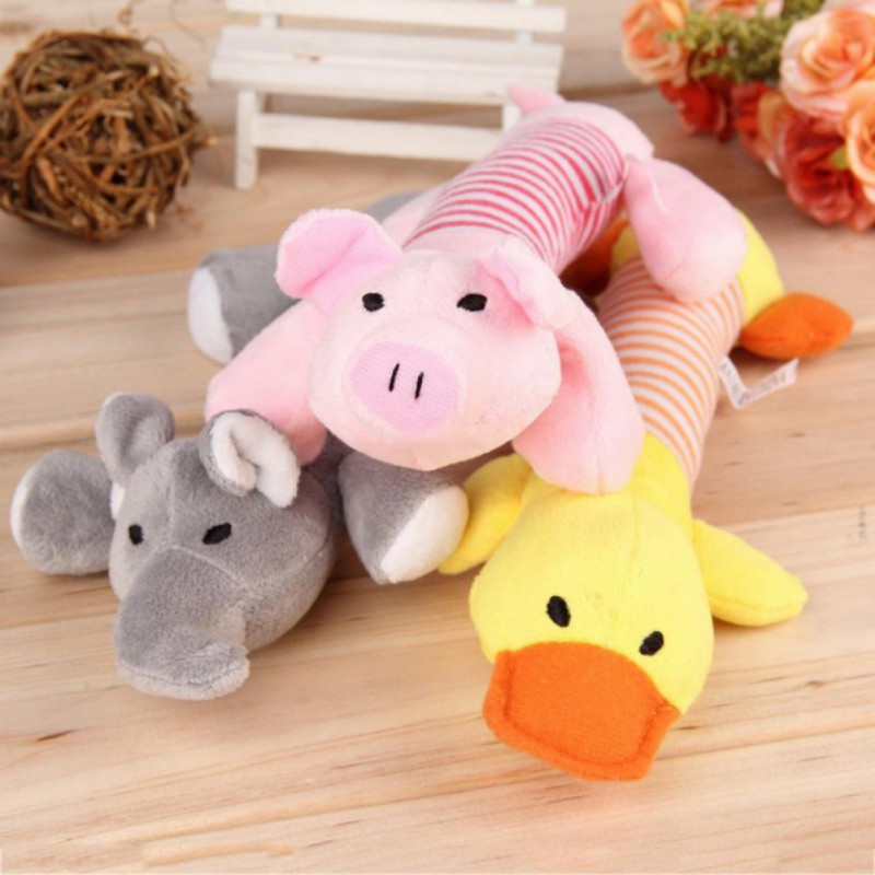 1PC Popular Pet Dog Cat Funny Fleece Durability Plush Toys Squeak Chew Sound Toy for All Pets Elephant Duck Pig