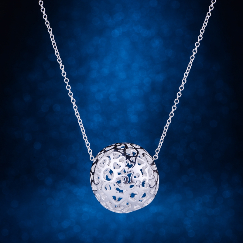 sphere hollow light silver plated Necklace 925 jewelry silver Pandant Fashion Jewelry LQ ...