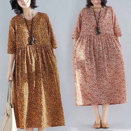 Artistic Vintage Casual Short Sleeve Women Dress Loose Cotton And Linen Floral Dresses Print High Waist Woman's Clothes Summer