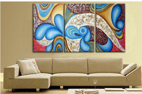 3 Panels Modern Wall Paintings Warm Colors Picture Wall Art Oil