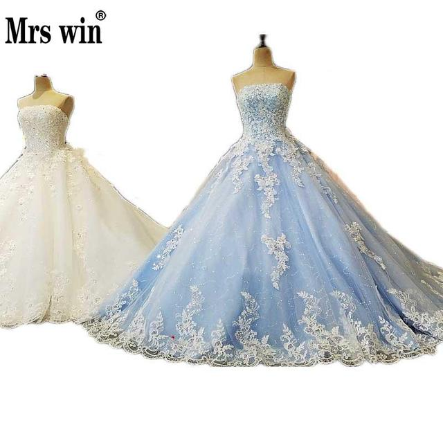New Fashion Korean Luxury Long Tail Wedding Dress Blue White Strapless Sequined Backless Bride Princess Robes