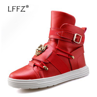 LFFZ Cool Design Men Vulcanize Shoes Metal Decoration Fashion Men Casual Shoes Unique Stitching Buckle Strap Sneakers Men Flats