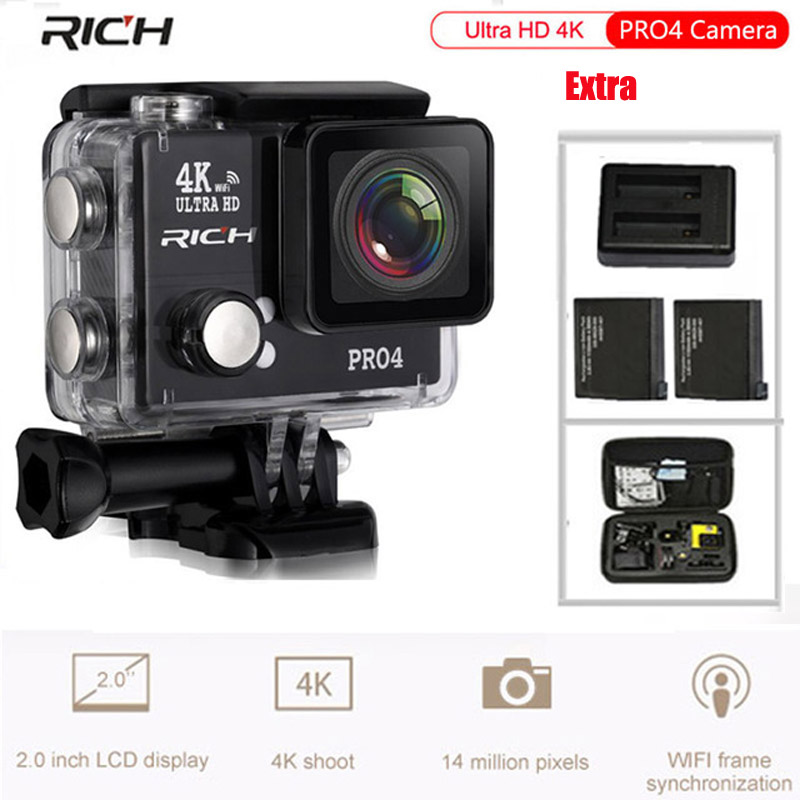 Original PRO4 Action Camera Ultra HD 4K 30fps WiFi 2.0 170D lens Helmet Cam pro underwater go waterproof Sport camera 2017 arrival original eken action camera h9 h9r 4k sport camera with remote hd wifi 1080p 30fps go waterproof pro actoin cam