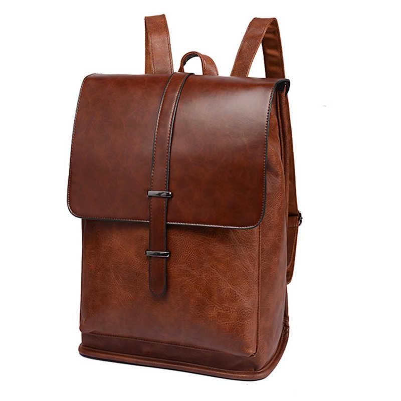 d3d99ec172ff Бренд для мужчин рюкзаки Винтаж кожаный мужской ноутбук рюкзак бизнес  дорожная школьная сумка для колледж повседневное