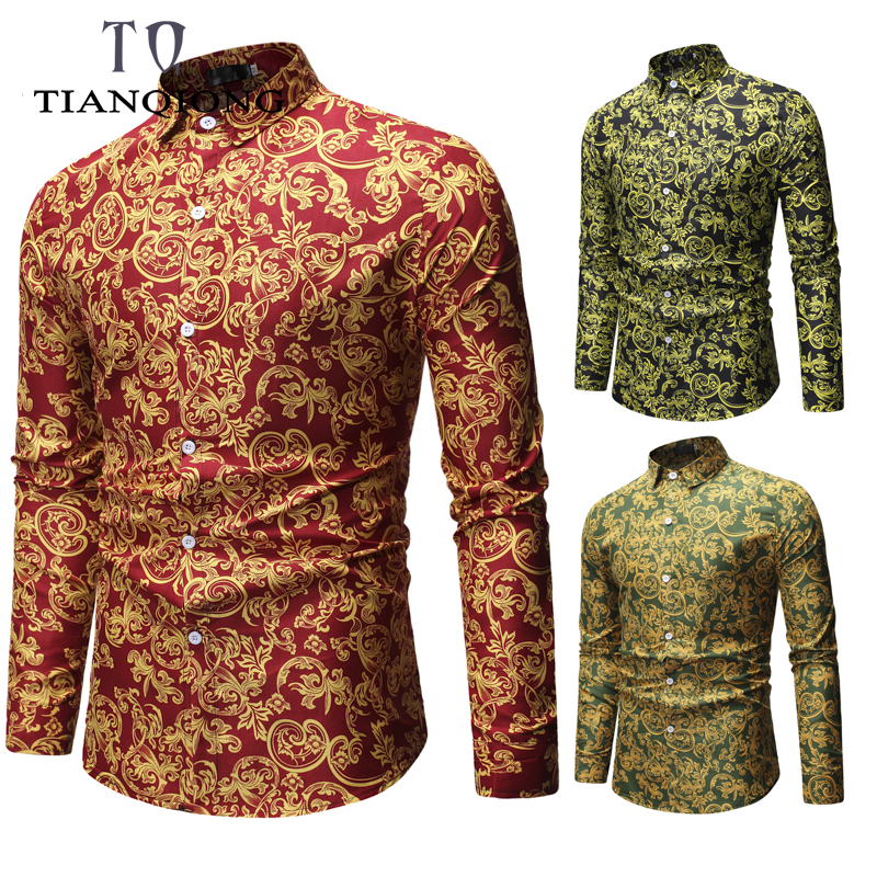 Men shirt Floral printing long sleeve shirts men clothes flowers printed vintage Linen Casual Shirt 2019 new Spring