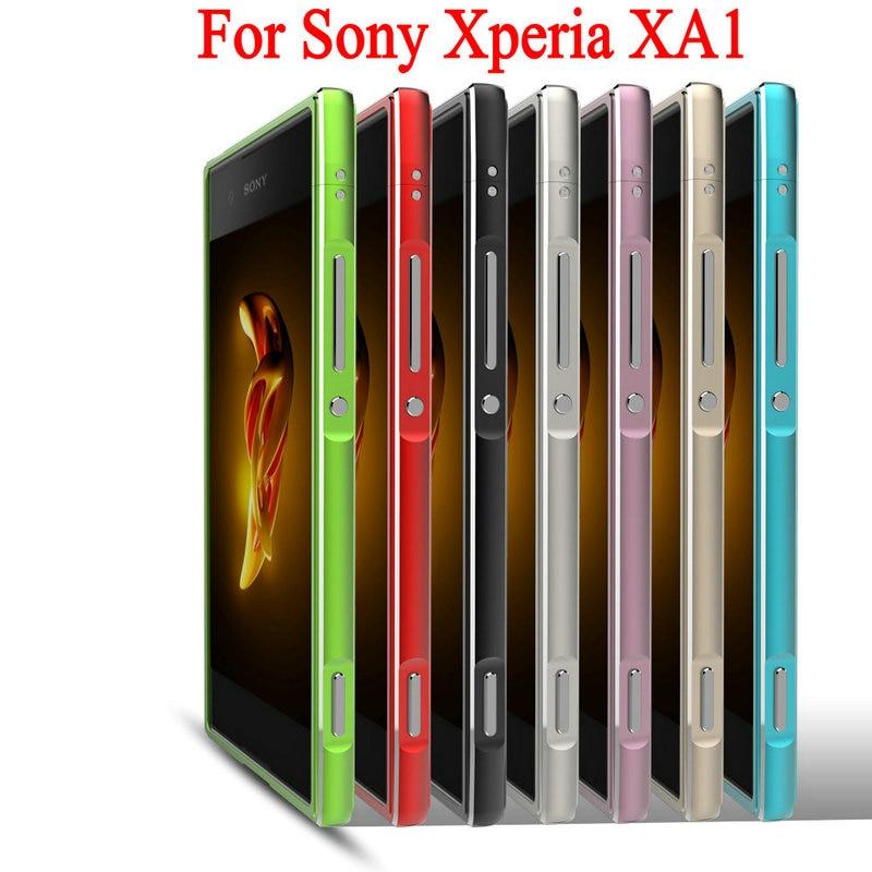 High Quality Ultra Thin Slim Aluminum Metal Bumper Frame Case For Sony Xperia XA1 G3121 G3112 G3125 G3116 G3123 With Strap BK1
