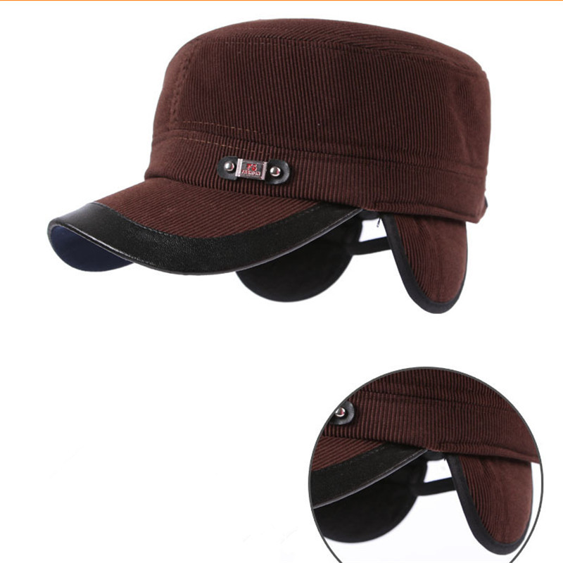 yankees baseball hat with ear flaps new cap men warm autumn winter protection leather broncos fleece lined
