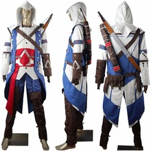 AC 3 III Connor kenway Hoodie Outfit Halloween Carnival Comic-con Anime Cosplay Costume Men Boys Adults