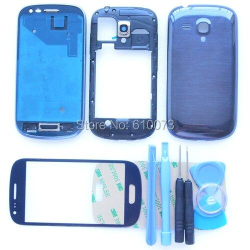Оригинальный i8190 Синий Белый Полный Крышку Корпуса для Samsung Galaxy S3 мини Полный Жилищно Ближний Рамка + Переднее Стекло + инструменты