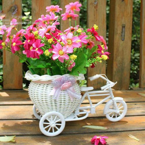 2019 New Bicycle Decorative Flower Basket Newest Plastic White Tricycle Bike Design Flower Basket Storage Party Decoration Pots 2