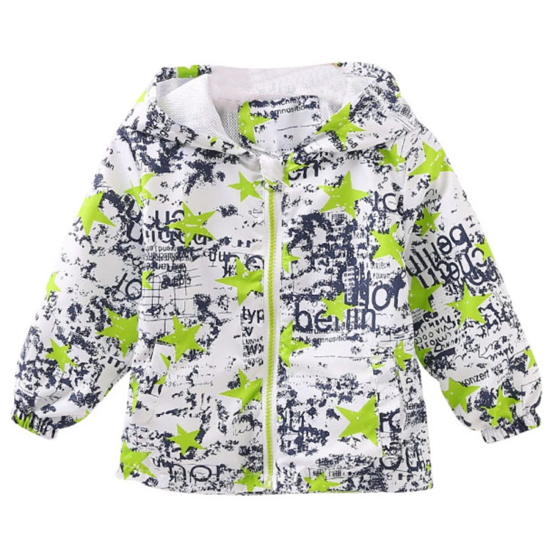 2017 Baby Autum Long Sleeve Kids Five - star Print Graffiti Windproof Coat Kids Active Hooded Coat 2-6 Years