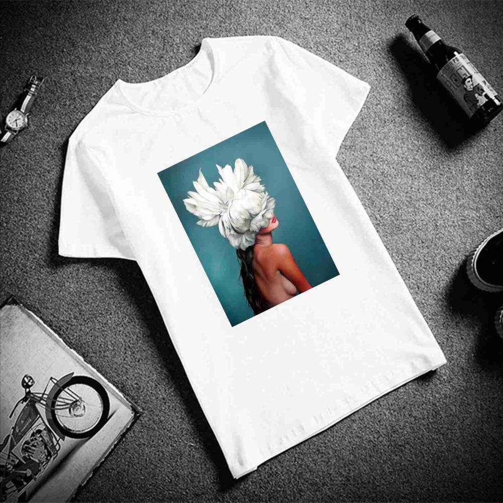 New Cotton Harajuku Aesthetics Tshirt Sexy Flowers Feather Print Short Sleeve Tops & Tees Fashion Casual Couple T Shirt 10