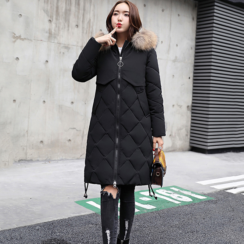 Winter Jacket Women Parka 2018 Fashion Winter New Coats Ladies Long Slim Jackets Warm Female Hooded Fur collar Outerwear NO369