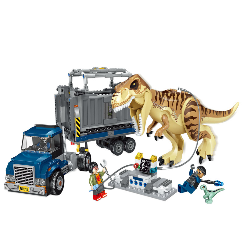631pcs Tyrannosaurus Rex Transport vehicle Compatible jurassic world Children s educational building blocks toy gifts