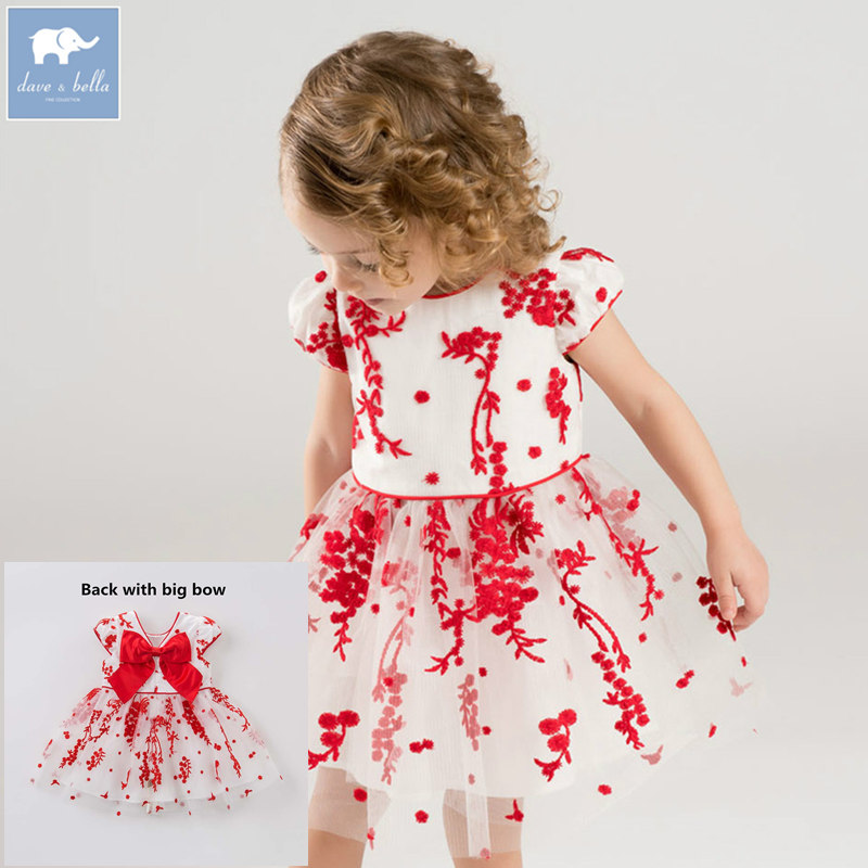 Dave bella Princess baby girl dress with big bow children party wedding gown summer floral clothes