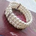 Moda OL mujeres de tres capas Crystal perlas de imitación pulsera pulsera caliente de la venta pulsera del estiramiento de varios