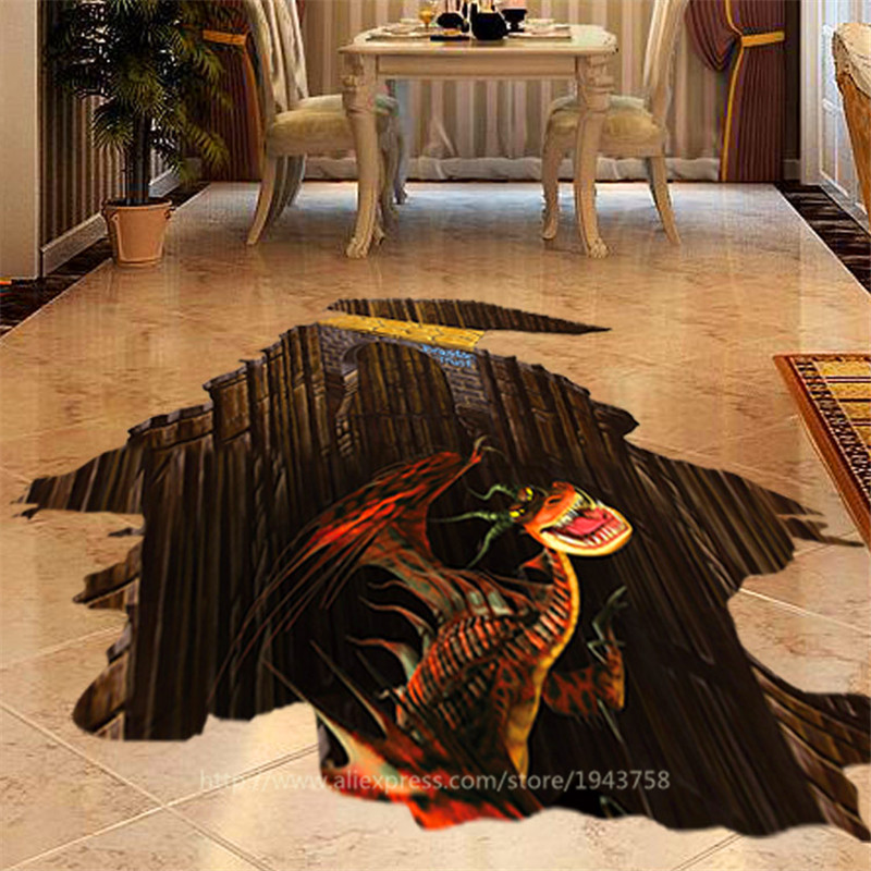Hot Sale 3d Dinosaurs Creative Wall Stickers Stylish Home Floor Sticker Living Room Bedroom Decors Waterproof