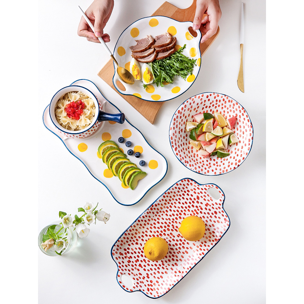 ceramic dinner plates Japan style dishes and plates sets creative salad plate soup bowl double ear dish breakfast cake plate