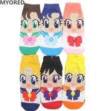 MYORED Spring summer fashion women's short tube socks cartoon cotton socks Cute lovely sailor moon female ankle sock 6pair/Lot