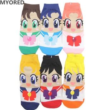 MYORED Spring summer fashion women's short tube socks cartoon cotton Cute lovely sailor moon female ankle sock 6pair/Lot - discount item  25% OFF Women's Socks & Hosiery