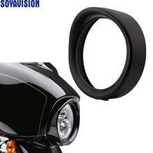 "Pour Harley phare visière Style garniture anneau pour Touring Softail Original 7 ""phare visière Style phare garniture anneau"
