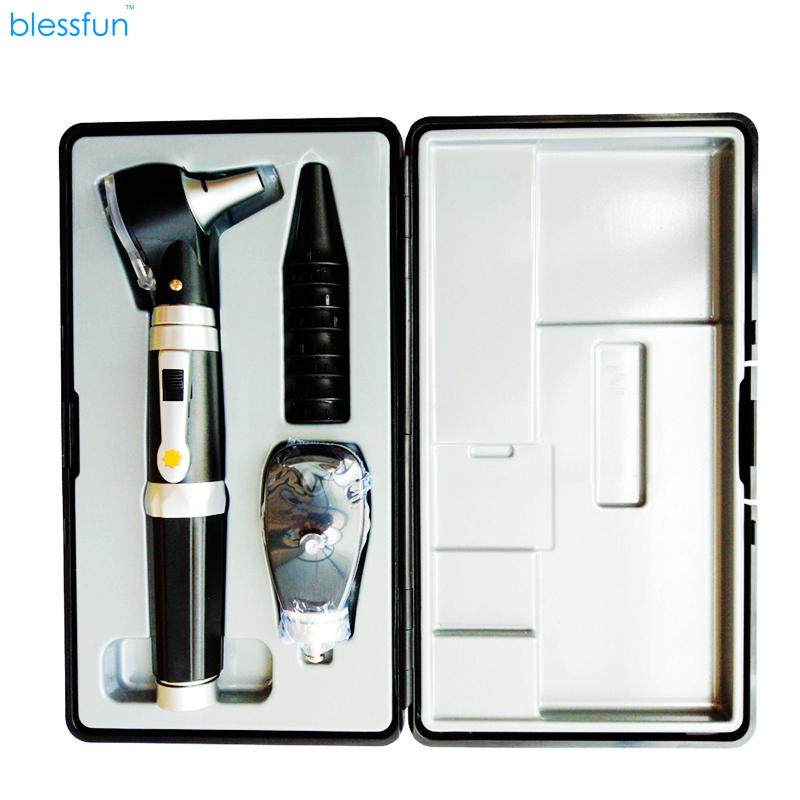 2 IN 1 Fiber Optic Multi-Purpose Professional High Grade Diagnostic Medical ENT Portable Otoscope / ophthalmoscope replace Head 3x professional fiber optic medical otoscope physician earcare diagnostic ent kit halogen illumination light hs ot10 with box