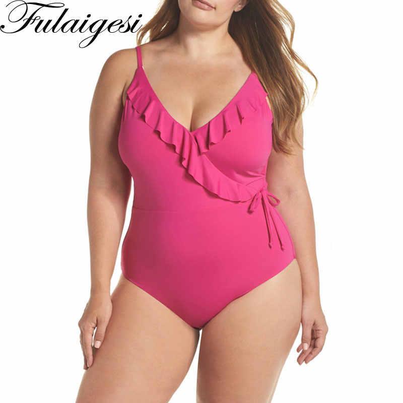 4XL plus größe badeanzug tiefem v-ausschnitt rüschen spitze up strumpf Bademode Zurück Krawatte Badeanzug Solide Rosa Schwarz Große größe Beachwear