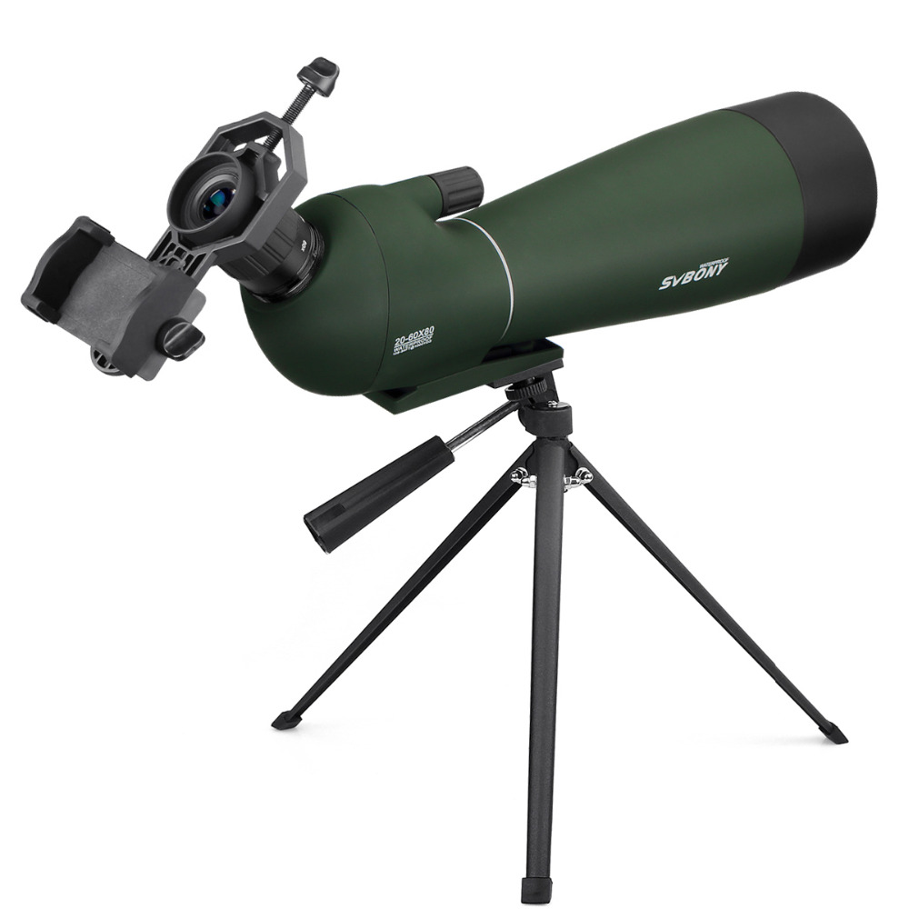 SVBONY BAK4 20-60x80mm Zoom Spotting Scope w/Tripod Soft Case Birdwatching Hunting Monocular Telescope Waterproof+Adapter F9308 цена
