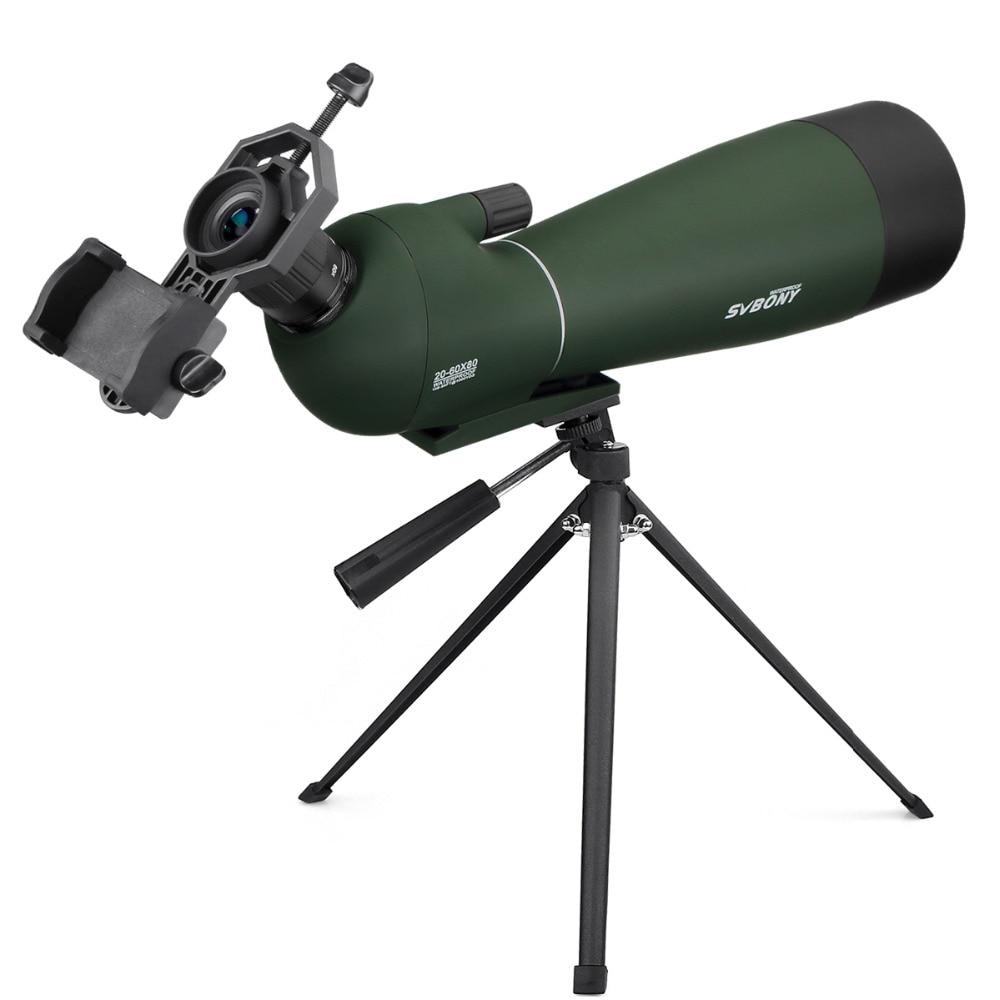 SVBONY Spotting Scope BAK4 20-60x80mm Zoom w/ Tripod Soft Case Birdwatch Monocular Telescope Waterproof + Adapter F9308 new spotting scope birdwatch monocular