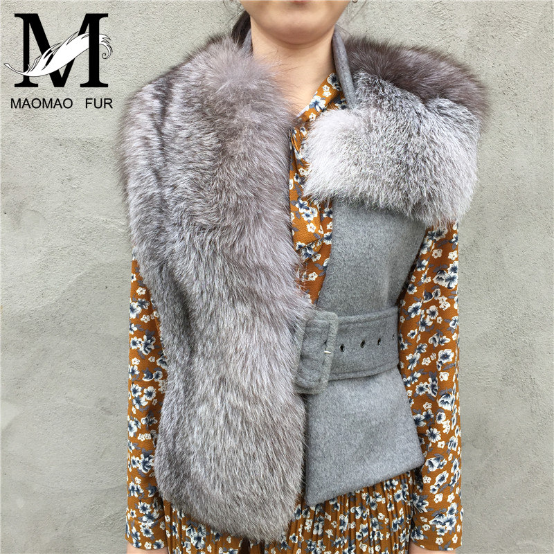 2017 New Fashion Women Real Fox Fur Shawl Female Wool Slim Ladies Waistcoat Gilet Genuine Fox Fur Cape Spring Natural Fur Vest