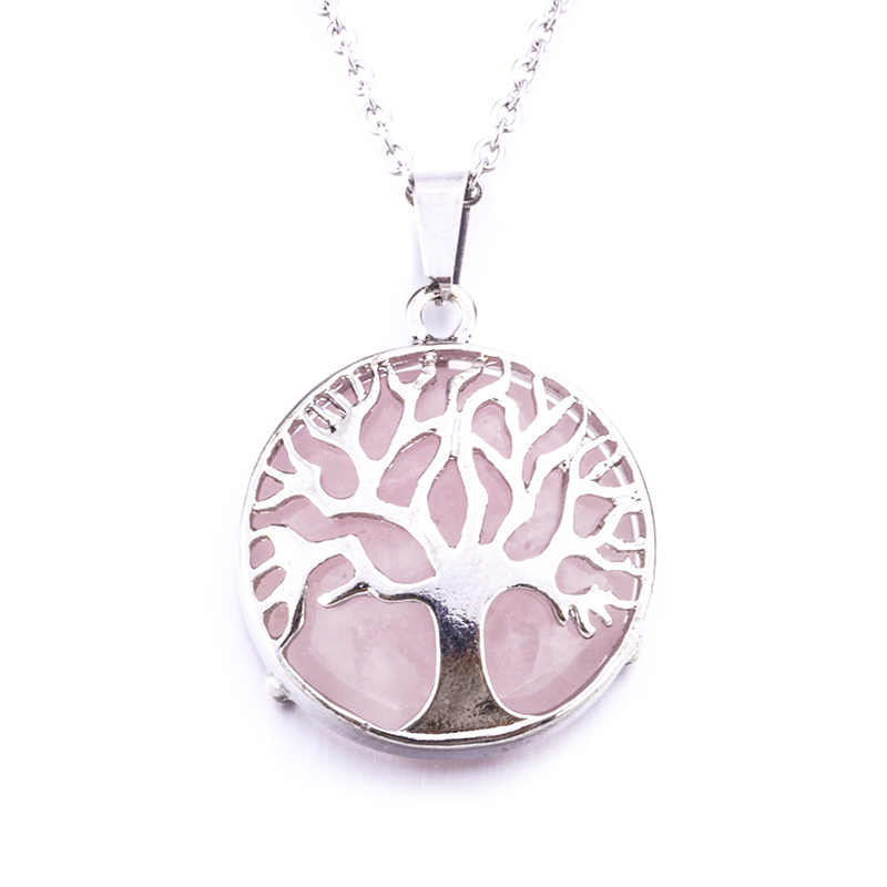 Diameter 27mm Natural Gem Stone Tree of Life Necklaces Pendants Pink Quartz White Crystal Lapis Lazuli Tiger Eye Opal Neklace