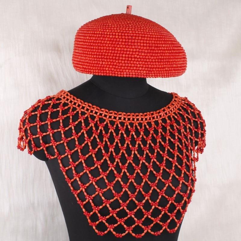 Dudo Jewelry 100% Genuine Coral Beads Jewelry Set For Edo Bridal Wedding Scarf Hat Gloves
