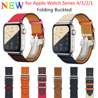 2019 With LOGO Leather Single Tour Deployment Buckle Watch Band for Apple Watch 44MM 40MM Replacement Wristband for iWatch Strap