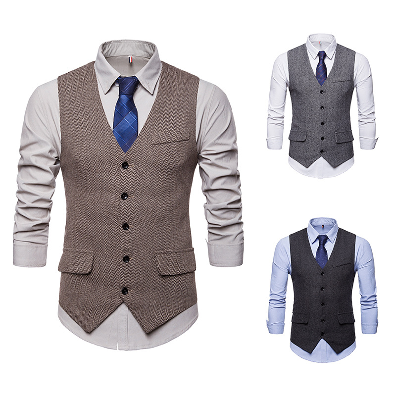 Cross-border For Herringbone Male Money Tothe Single-breasted Ma3 Jia3 Suit Vest M49