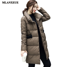Mlanxeue Women's Fashion Long-sleeved Coat Jacket Down Jacket Winter Style Hood Warm Down Jacket 2016 Women's Long section Tops