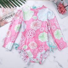 2019 Infant Baby Long Sleeves Bodysuit Girls Swimwear One Piece Swimsuit Kids Flower Printed Zipper Bathing Suit Cute Bikini