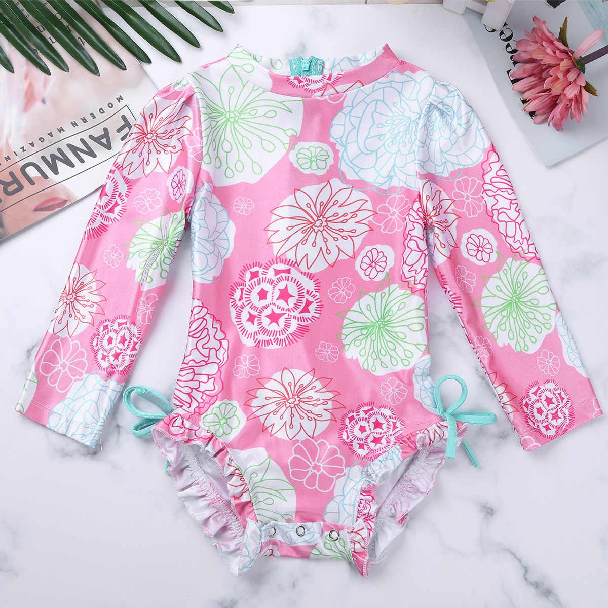 2019 боди с длинным рукавом для маленьких девочек, детский купальник, Цельный купальник с цветочным принтом, на молнии, с оборками, купальный костюм